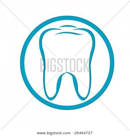 Stylized Tooth In Circle, Isolated On White Background, Vector Illustration