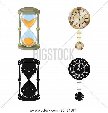 Vector Illustration Of Clock And Time Icon. Collection Of Clock And Circle Stock Symbol For Web.