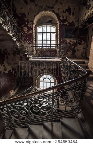Decaying Old Staircase In An Abandoned House