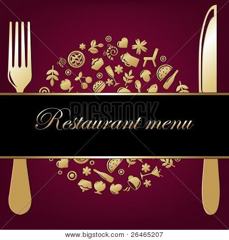Restaurant Background With Restaurant Icons In Form Of Sphere With Plug And Knife, Vector Illustration