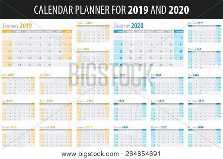 Set Of Calendar Planners 2019 And 2020 Years In Clean Minimal Table Simple Style. Vector Illustratio