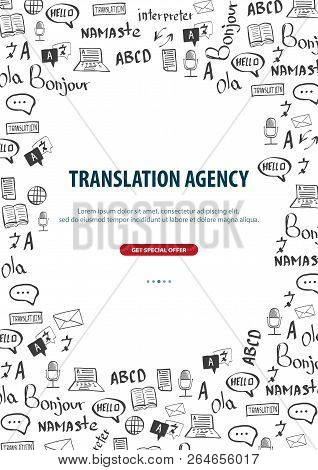 Language Translator Banner With Hand-draw Doodle On The Background. Concept Of Translating Agency An