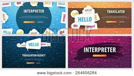 Set Of Language Translator Banners With Hand-draw Doodle On The Background. Concept Of Translating A