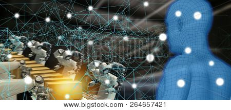 Iot Trend Industry 4.0 Concept,industrial Engineer Using Artificial Intelligence Ai (augmented, Virt