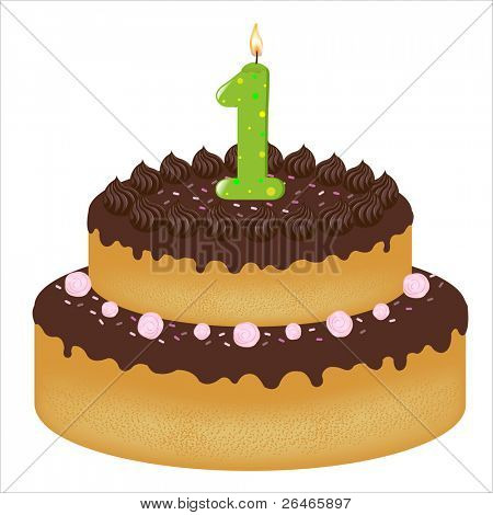 Birthday Cake With Candles With Number One, Isolated On White Background