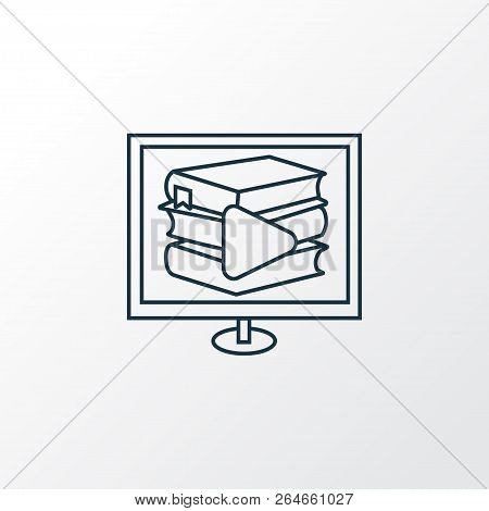 Digital Library Icon Line Symbol. Premium Quality Isolated E-reader Element In Trendy Style.