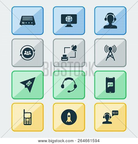Communication Icons Set With Greeting Male Operator, Satellite With Printer, Team Communication And