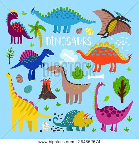 Dino Vector Set. Dinosaurus Prehistoric Animals Like Stegosaurus And Pterosaur, Brachiosaurus And Pt