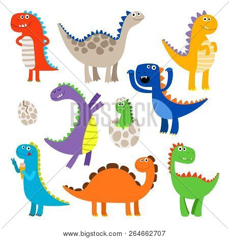 Cute Dinosaurs. Baby Cartoon Smiling Dinosaur Animals Isolated On White Background, Vector Illustrat