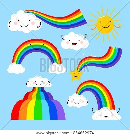 Rainbows Clouds  Vector & Photo (Free Trial) | Bigstock