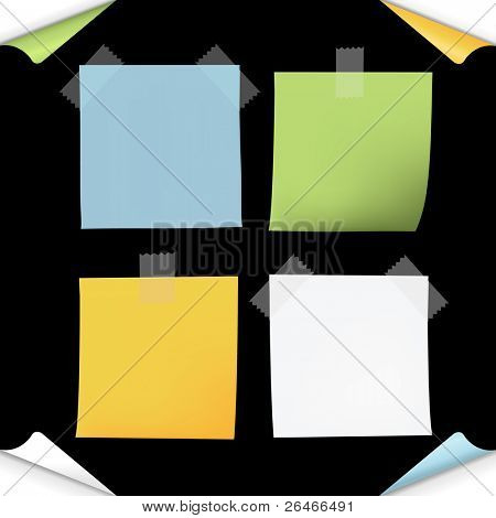 Blank Note Paper, Isolated On Black Background, Vector Illustration
