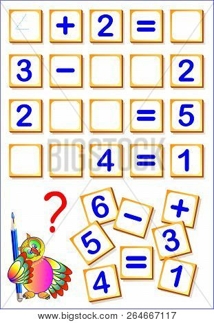 Logical Math Exercises For Kids. Need To Find The Missing Details, Solved Examples And Write The Num