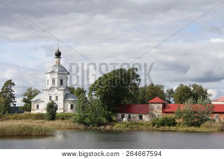 Russian Orthodox Chirch Near The Lake, Nilov Monastery Seen From Water In Russia, Seliger Lake, Tver