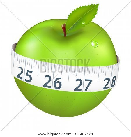 Green Apple With Measurement, Isolated On White Background, Vector Illustration