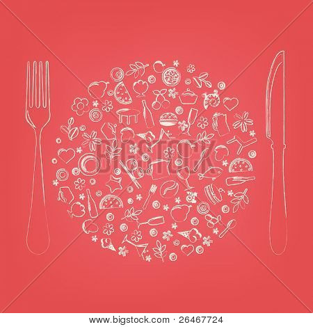 Restaurant Icons In Form Of Sphere, Vector Illustration