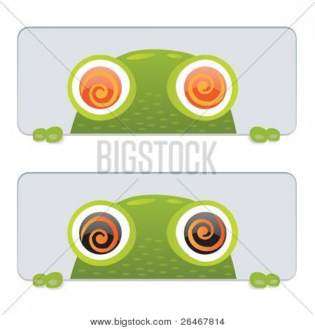 2 Hypno Frog, Isolated On Black Background, Vector Illustration