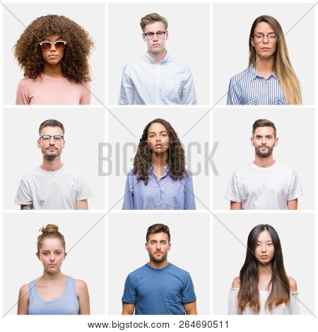 Collage of group of young people woman and men over white solated background with serious expression on face. Simple and natural looking at the camera.