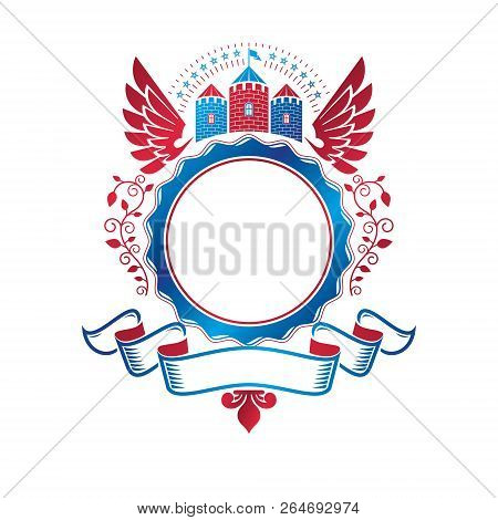 Ancient Citadel Emblem. Heraldic Vector Design Element With Red Wings. Retro Style Label, Heraldry L