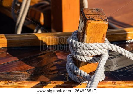 Detail Of A Historical Sailing Ship In Dierhagen, Germany.