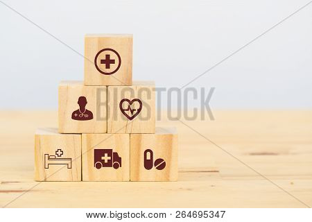Smart Health Care, Insurance Concept, Wooden Cube Symbolize Insurance To Protect Or Cover Person, Pr