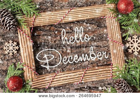 Hello December Lettering Design. Winter Holiday Composition.