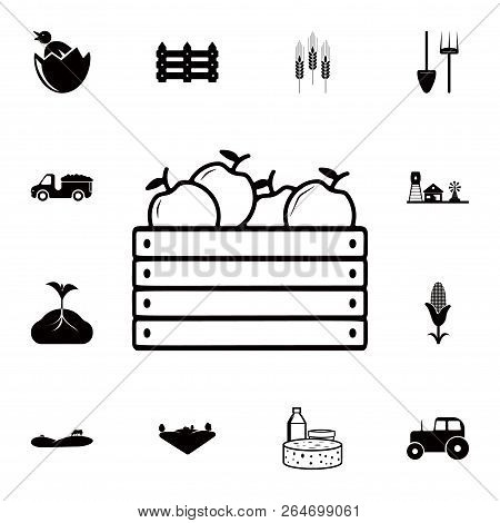 Box Of Apples Icon. Detailed Set Of Farm Icons. Premium Quality Graphic Design Icon. One Of The Coll