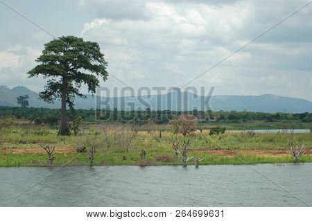 View Of Lake Volta, Tree And Mountains In Distance With Sacred Rock Visible In Ghana.