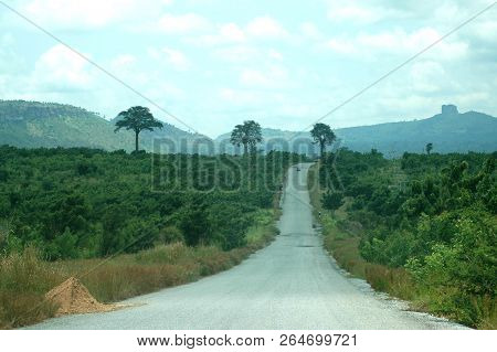 A Tarmac Road Passes Through The Bush Towards Some Tall Trees And Mountains In Ghana, West Africa