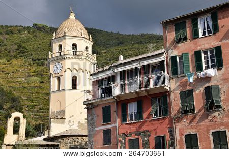 A View Of The Bell Tower And The Church Of Vernazza In The Cinque Terre In Liguria - Italy