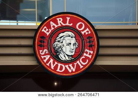 Chessy, France - October 14, 2018: Earl Of Sandwich Sign Located In Chessy Near Paris, France. Earl