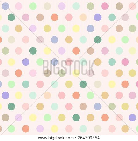 Abstract Background With Colorful Pastel Polka Dot On Beige Wallpaper. Vector Art Polka Dot Pattern