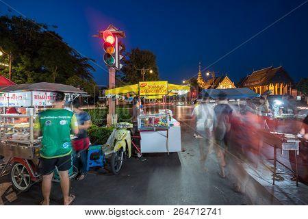 Nan,thailand - October 7, 2018 : The People On Motion Blur On The Walking Street Near Wat Phumin, Mu