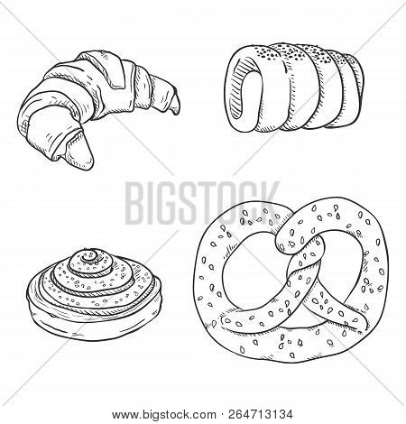 Vector Sketch Set Of Fresh Baked Pastry Items. Desserts And Snacks.