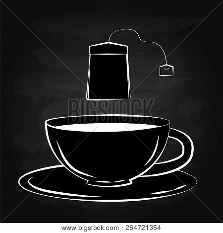 Black And White Drawing Of A Cup And Tea Bag. Silhouette Of A Cup Of Tea. Lettering On Tea Cup Shape