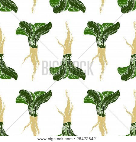 Horseradish Vector Coloured Pathless Original Pattern For Web, Textile, Branding, T-shirts, Cards, C