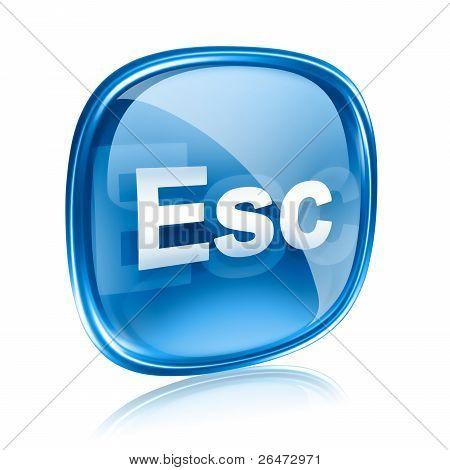 Esc Icon Blue Glass, Isolated On White Background