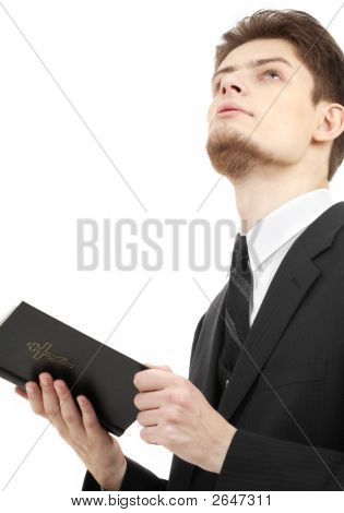 picture of man with holy bible over white poster