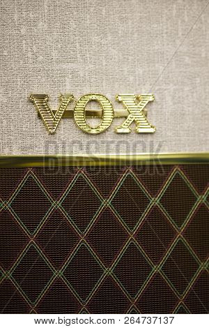 Belgrade, Serbia - July 23, 2018: Detail Of Vox Amplifier. Vox Is A Musical Equipment Manufacturer F