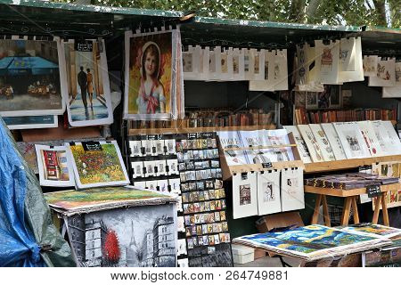 Paris, France - July 23, 2011: Artworks For Sale At A Street Marketplace In Paris. Paris Is The Most