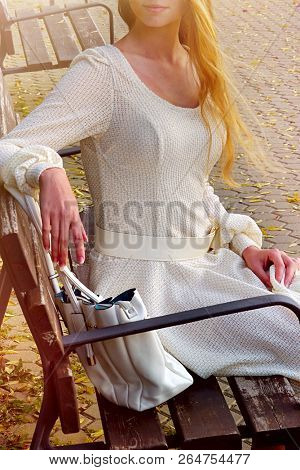 Fashion woman in autumn spring dress on city street. Cropped shot of female style of feminine fashionable girl model on bench fall outdoor. Color tone on shiny sunlight background.