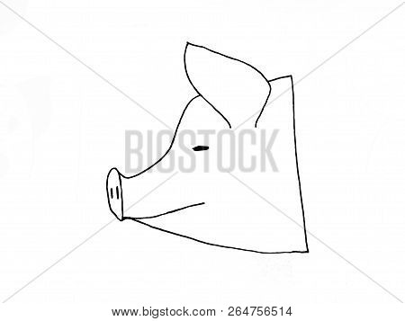 Raster Simbol Of 2019 Year..pig Head Isolated On White Background. Pork Meat. Design Element For Lab