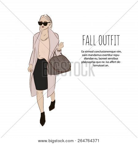 Woman In Designer Clothes Sketch. Trendy Fashion Outfit. Model Girl Wearing Blouse, Coat, Skirt And