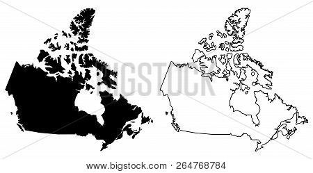 Simple (only sharp corners) map of Canada vector drawing. Lambert conformal conic projection. Filled and outline version. poster