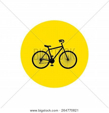 Bicycle. Bike Icon Vector. Cycling Concept. Bike Sign On Yellow Circle Isolated On White Background.