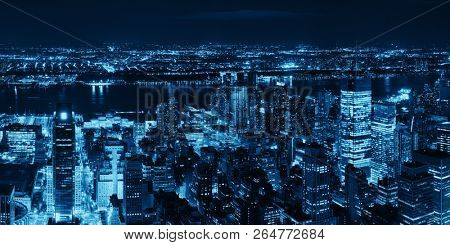 New York City west side at night with urban cityscape panorama view.