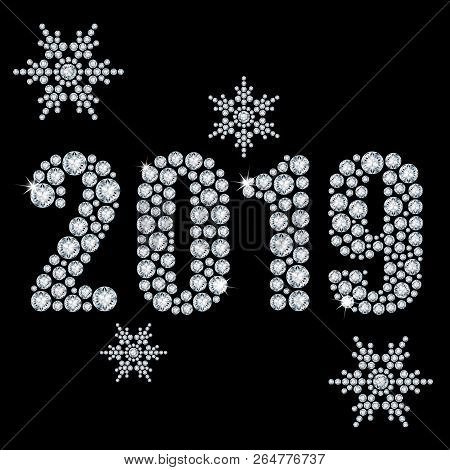 The Crystals 2019 Year From Diamond On A Black Background And Snowflakes