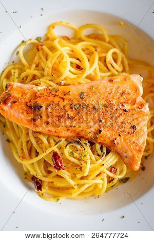 Grilled Salmon With Aglio Olio Spaghetti With Herb