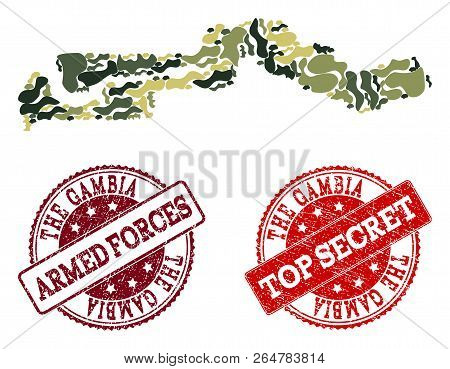 Military camouflage combination of map of the Gambia and red corroded seals. Vector top secret and armed forces imprints with corroded rubber texture. Army flat design for military templates. poster