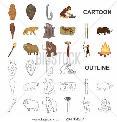 Life In The Stone Age Cartoon Icons In Set Collection For Design. Ancient People Vector Symbol Stock