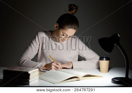 Busy Freelancer Rewrites Infrormation Into Notepad, Prepares Article For Publication, Reads Books, W